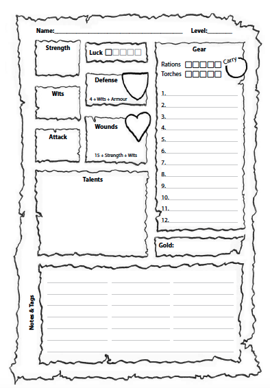 Thumbnail image of the Dungeon Blitz character sheet
